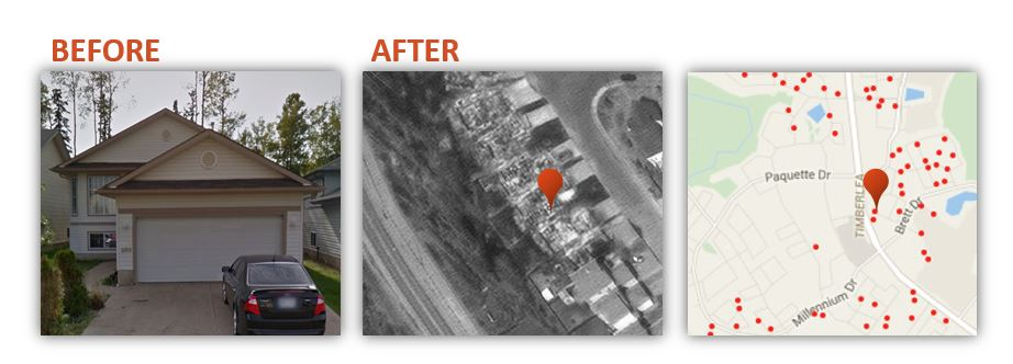 Three image collage of a house with car in the driveway, Satellite image of a residential area and a vector based map of the same area
