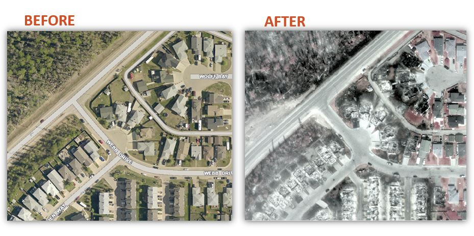 Before and After satellite image of the Fort McMurray fire