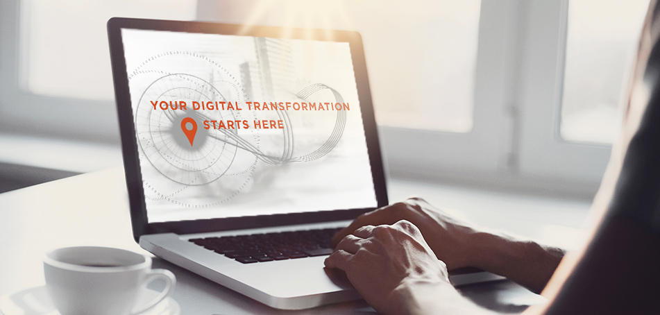 Photo of a laptop with Your Digital Transformation Starts Here image on the screen